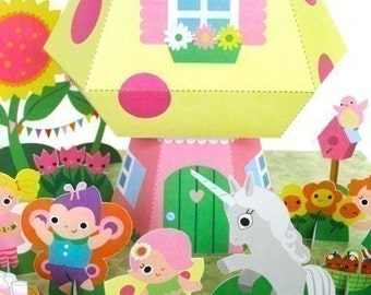 Fairy Mushroom Cottage Playset Printable Paper Craft PDF
