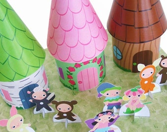 Fairy Cottage Favor Box and Playset Printable Paper Craft PDF