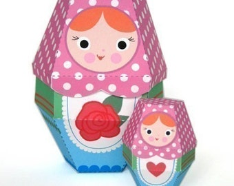Rose Matryoshka Nesting Doll Printable Paper Craft PDF