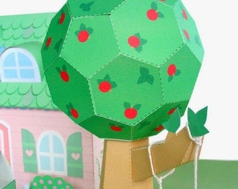 Apple Tree and Dollhouse Landscaping Printable Paper Craft PDF