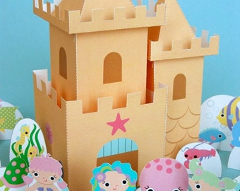 Mermaid Sandcastle Playset Printable Paper Craft PDF