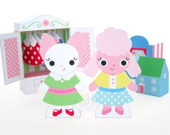 Paper Dolls and Wardrobe Playset Printable Paper Craft PDF