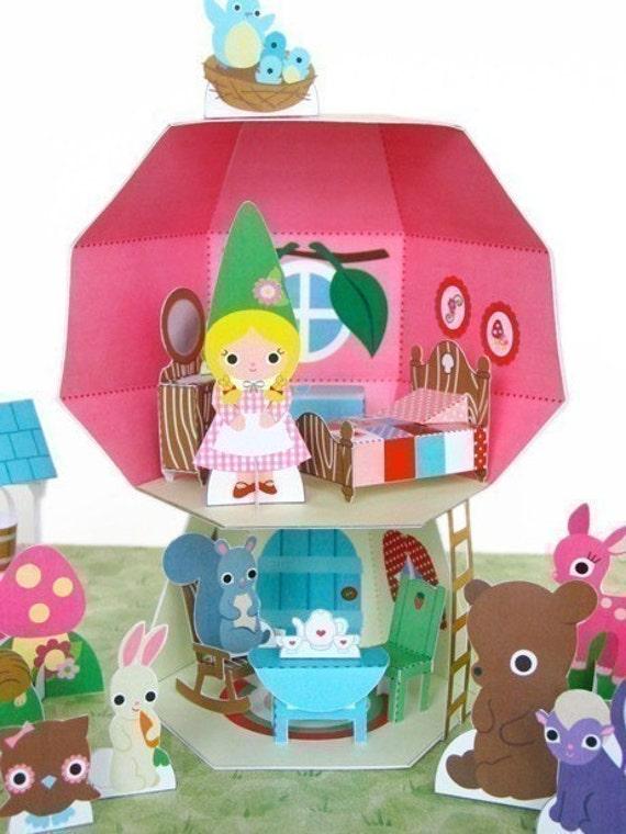 Mushroom Cottage Dollhouse Playset Printable Paper Craft PDF
