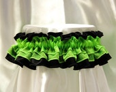 Cute and sexy HonkyTonk garter - lime green and jet black