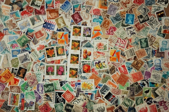 Vintage postage stamps for scrapbooks, collages, cards, and crafts