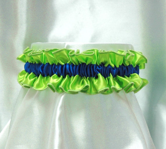 Cute and sexy Minnie garter -  royal blue and lime green