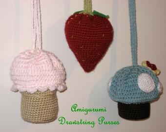 Sale - Amigurumi Crochet Drawstring Purses Pattern Set Digital Download