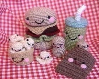 Sale - Amigurumi Crochet Snack Food Pattern Set Digital Download