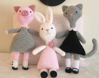 Amigurumi Crochet Little Animal Girls Pattern Set Digital Download