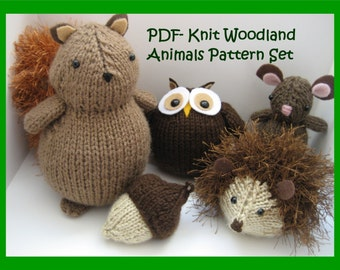 Sale - Amigurumi Knit Woodland Animals Pattern Set Digital Download