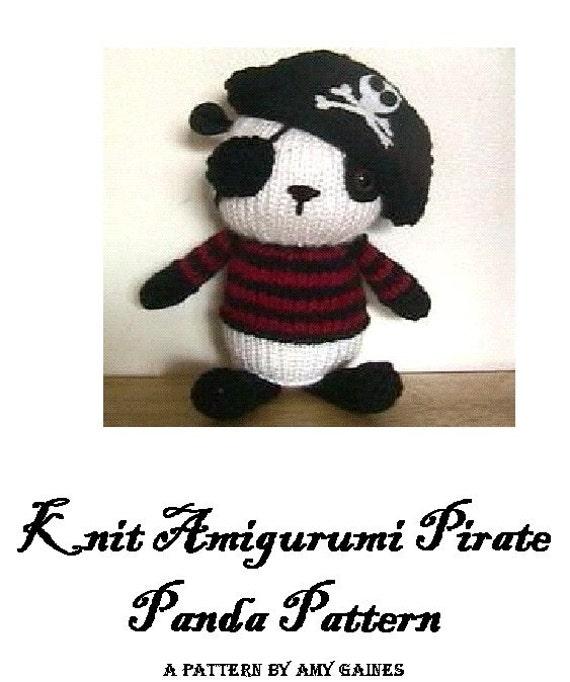B-    PDF Knit Amigurumi Pirate Panda Pattern