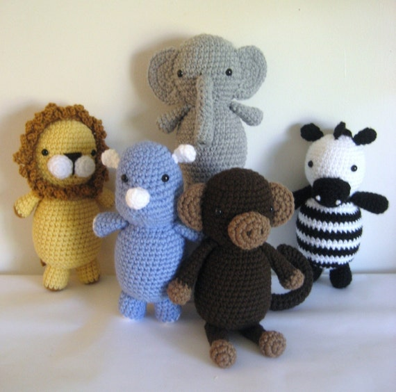 Amigurumi Crochet Safari Animals Pattern Set Digital Download