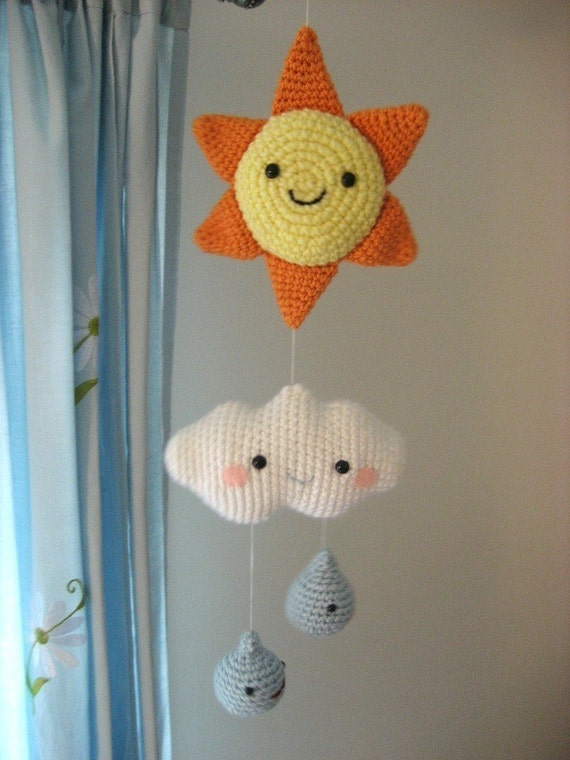 Sale - Amigurumi Crochet Happy Weather Mobile Pattern Digital Download