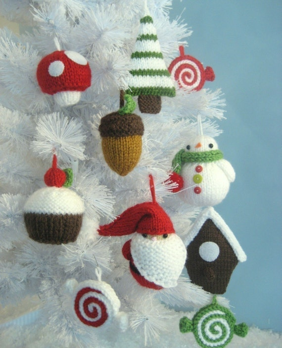 Amigurumi Askina Etsy : Amigurumi Knit Christmas Ornament Pattern Set Digital Download