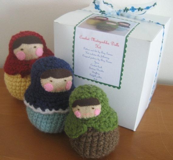 Kit- Everything you need to make my Crocheted Amigurumi Matryoshka Roly-Poly Dolls