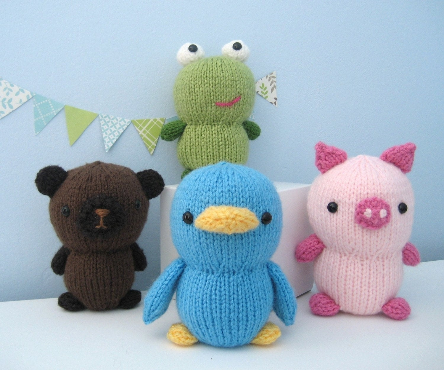 Animal Knitting Patterns Free : Amigurumi Knit Animal Friends Pattern Set Digital Download