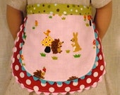 "Pink hedgehog and bunny double layer apron for American Girl 18""  doll"