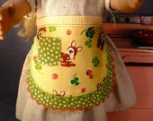 "SHIPS FREE.  Yellow and green stars with deer apron with pocket for American Girl 18""  doll"