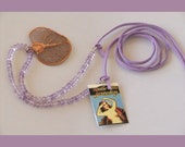 Genuine Amethyst w/ Copper Aspen Leaf on Leather Necklace - Adjustable Length Lavender Ribbon