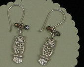 Woodland Sterling Silver Owl Earrings-Darling feathered forest creatures