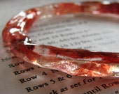 Yarny bangle bracelet Red and Pink  Hand cast resin