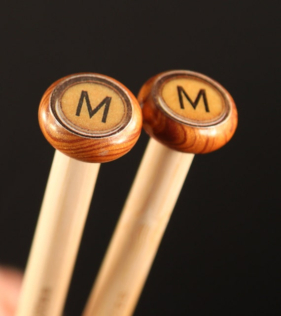 M Initial knitting needles Wood-grain Size 11 bamboo