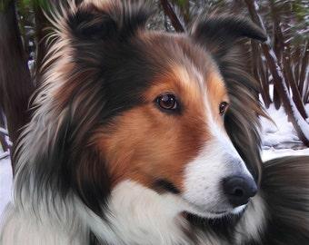 Custom Pet Portrait on Canvas 20 x 24  inches, lifelike Memorial portrait, realistic digital pet portrait, best pet portrait