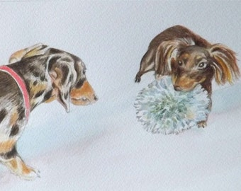 Double Watercolor Custom Portrait of Your Pets 5 x 7 inches