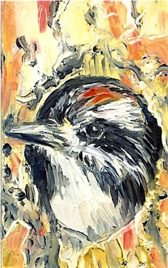 Bird Art Woodpecker Painting Miniature Oil Downy miniature