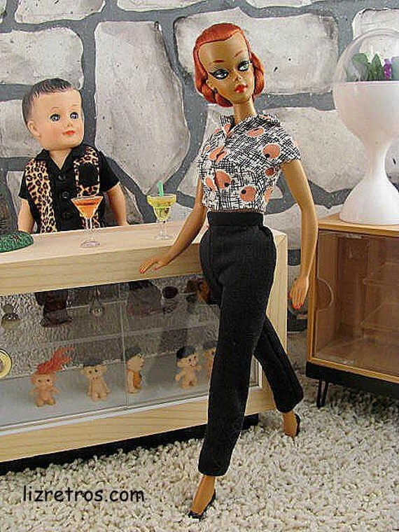 Swanky Retro Print Shirt and Slacks Set for Lalka, Barbie and Pals by RETROS FREE Shipping US