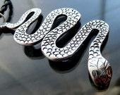 Huge Sterling Cobra Snake pendant silver serpent necklace