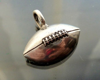 Football Sterling silver pigskin charm for  pendant necklace