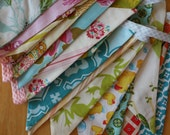 Do it Yourself Custom Bunting Flag Banner Garland Kit.  Cute Decoration Featuring Designer Fabrics.  You Sew it.