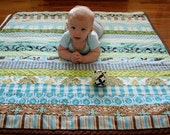 Boy Themed Jelly Roll Grab Bag Set of 20 Three Inch Strips in Mostly Blues and Greens.  Make A Baby Quilt Top in Less Than An Hour.