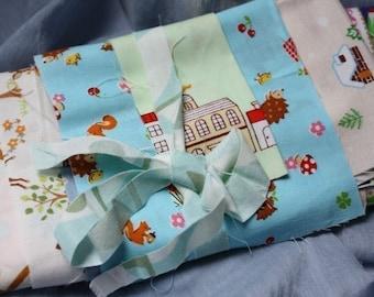 1 OUNCE GRAB BAG of Japanese Kawaii Scraps - Includes Super Cute Kawaii Cotton and Linen Blend Fabrics.