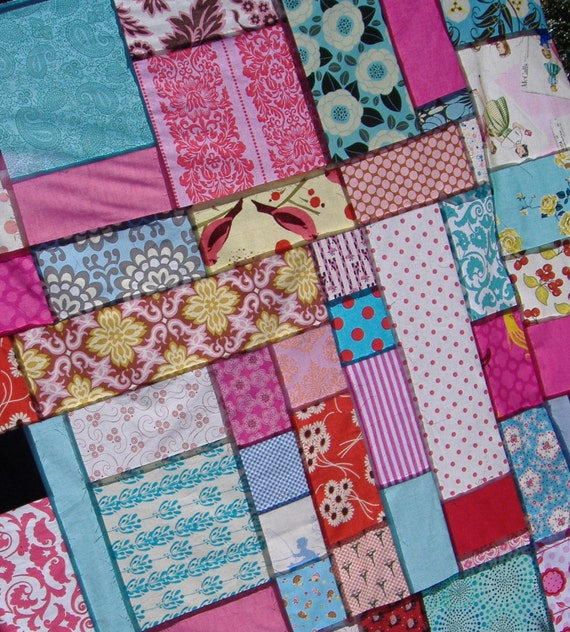 Amazing Price. Throw Quilt Top Kit in Pink, Red and Blue. Add optional batting, binding, and backing fabrics.