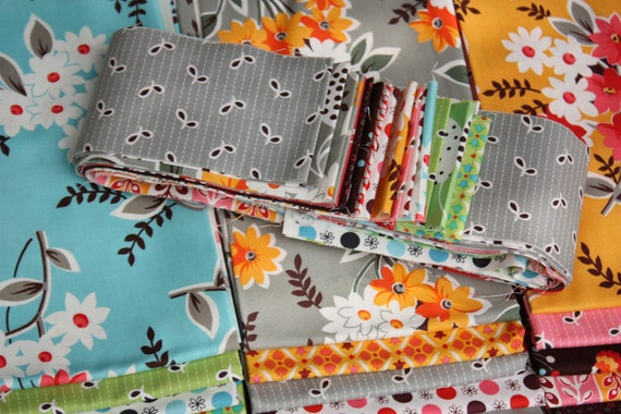 Last Chance. Flea Market Fancy Legacy by Denyse Schmidt, Complete Collection, 3 Inch Wide Jelly Roll Bundle.  All 21 Prints and a Free Gift.