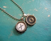 XO Charm Vintage TYPEWRITER Key NECKLACE Hugs And Kisses