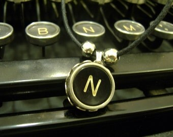 TYPEWRITER KEY NECKLACE Letter N Vintage Black Keys Retro Fun