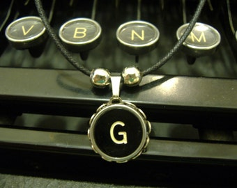 TYPEWRITER KEY NECKLACE G Initial Vintage Black Key Retro Fun
