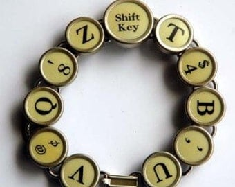 Jewelry Made with Typewriter Keys Bracelet All Light Keys One Of A Kind Unique