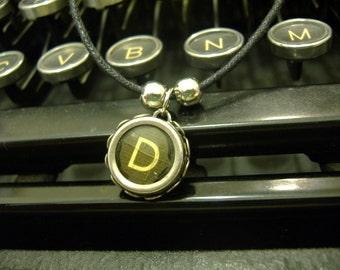 TYPEWRITER Key NECKLACE D INITIAL Vintage Black Key Retro Fun