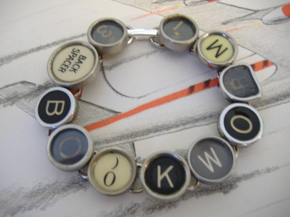 BOOKWORM TYPEWRITER Key BRACELET Recycled Jewelry Made From Typewriter Keys