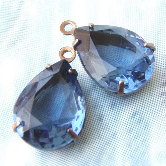 Montana Sapphire, Vintage Rhinestones, Pear, Glass Jewels, Patina Brass Settings, One or Two Ring, 14mm, 10mm, One Pair, Worldwide Shipping