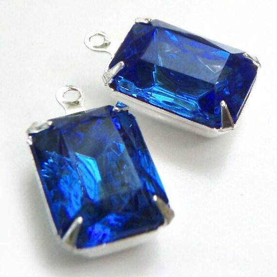 Sapphire, Blue, Vintage Rhinestone, Octagon, Silver Plated Settings, 14mm, 10mm, Glass, Jewel, One Pair, International Shipping