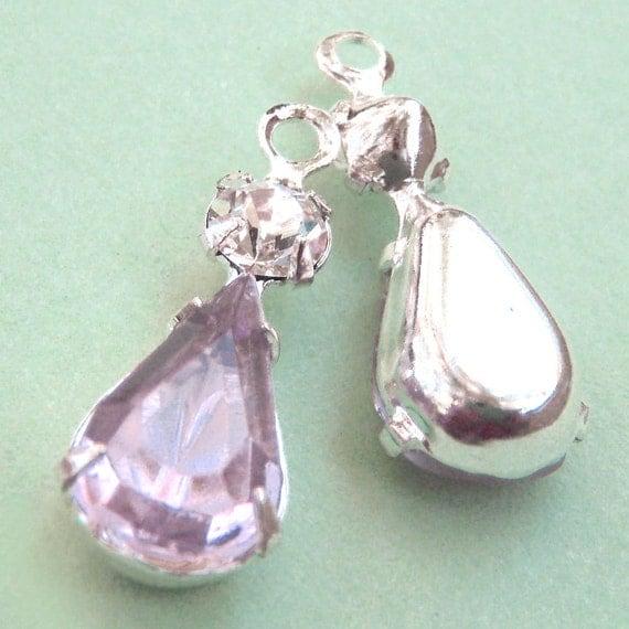 Light Amethyst, Lilac, Vintage Rhinestone, Pear, Swarovski Crystal, Silver Plated Settings, Charms, 22mm, 13mm, One Pair, Worldwide Shipping