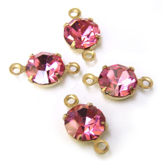 TWO Pairs, Deep Rose, Pink, Rhinestone, 7mm, Round, Golden Brass Settings, Two Rings, Glass Jewels, Worldwide Shipping