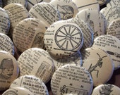 VINTAGE WORDS - FOUR 1.25 inch MAGNETS made from Recycled Vintage Dictionaries