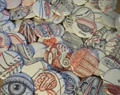 THE BODY - FIVE 1.25 inch BUTTONS Made from a Recycled Vintage Children's Anatomy Book