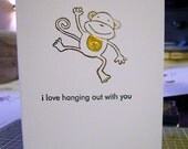 i love hanging out with you monkey greeting card